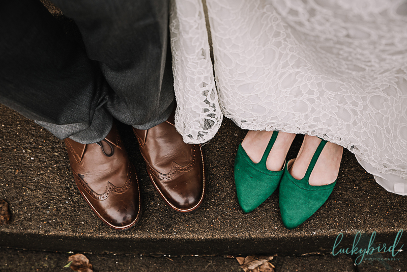 bride and groom wedding shoes brown and emerald