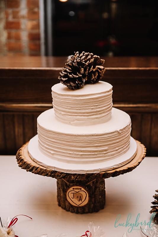 estons cake with pinecone topper winter toledo wedding