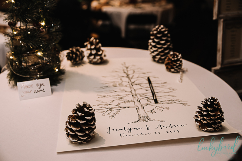 pinecone and tree guestbook for winter wedding