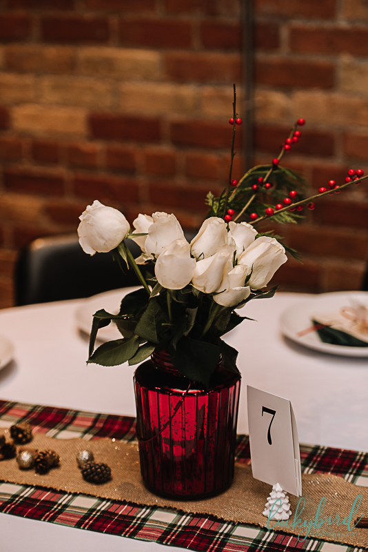 red and plaid centerpieces