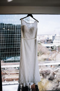 renaissance toledo wedding dress hanging