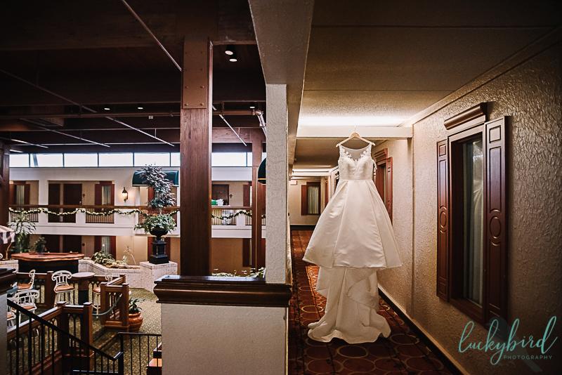 wedding dress hanging in perrysburg