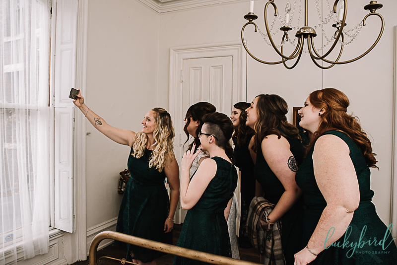 wedding selfie at collingwood arts center in toledo