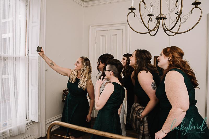 wedding selfie at collingwood arts center in toledo