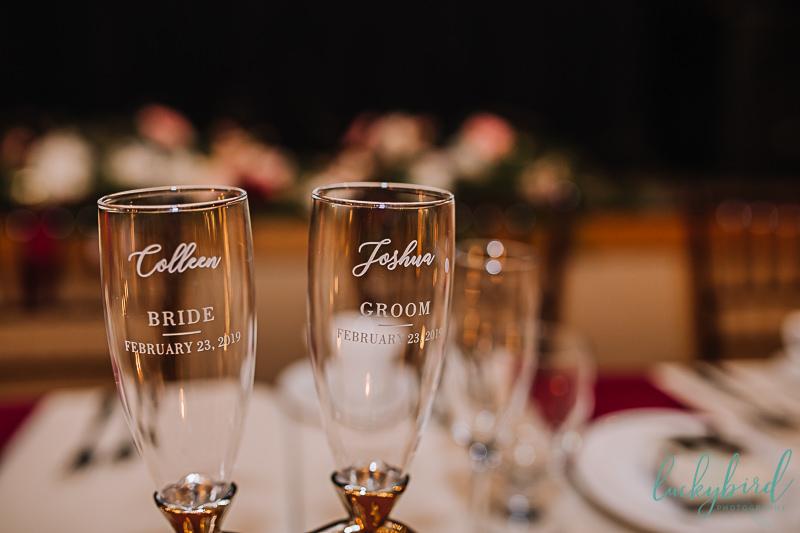custom champagne flutes inside nazareth hall wedding
