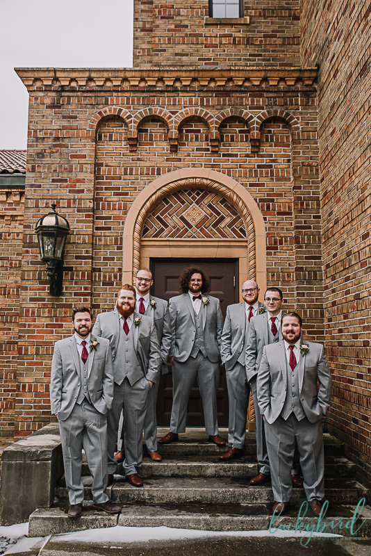 groomsmen in gray suits at nazareth hall