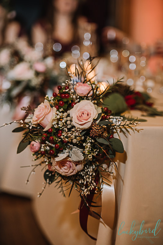 hafner florist bouquet with burgundy blush and greenery