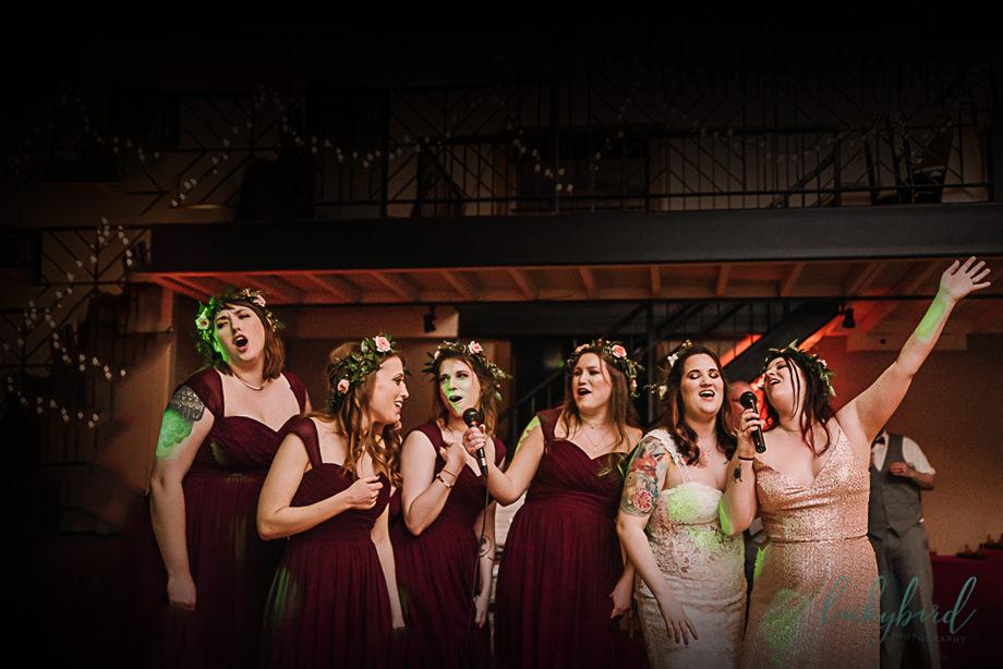 bridal party singing karaoke