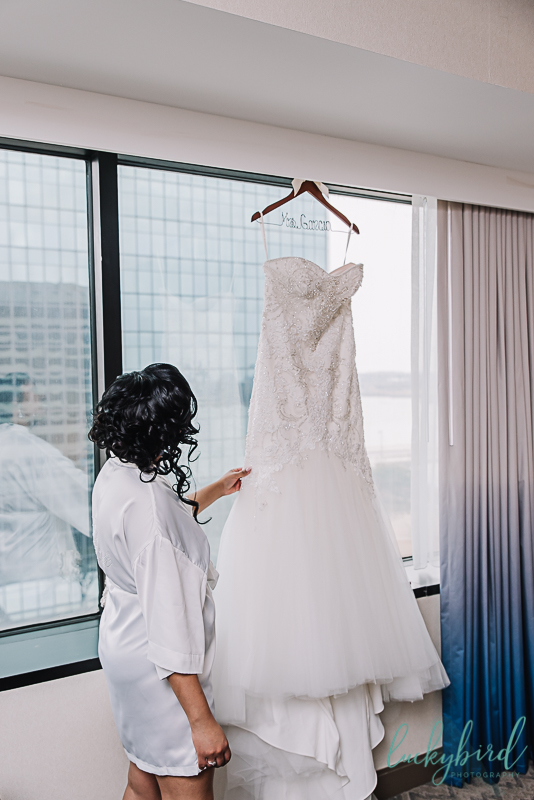 bride with dress at renaissance hotel