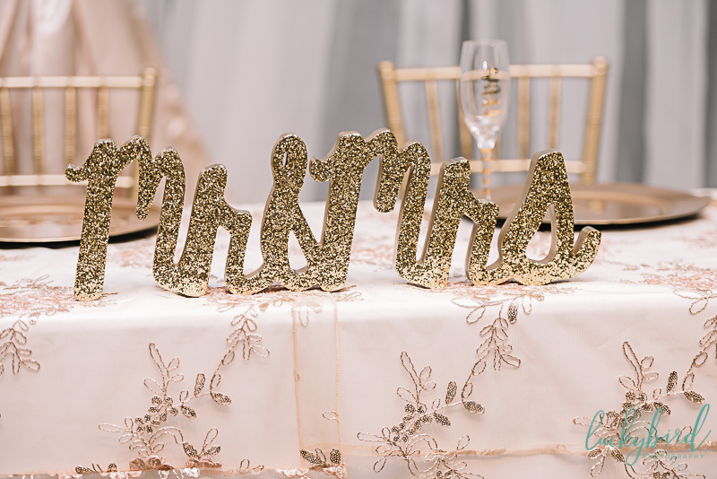 mr and mrs sign at the stranahan for wedding