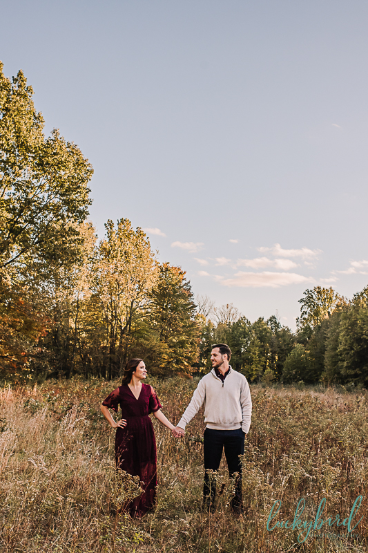 tall grass and field engagement photo at wildwood