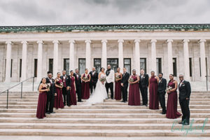 wedding party at toledo museum of art steps
