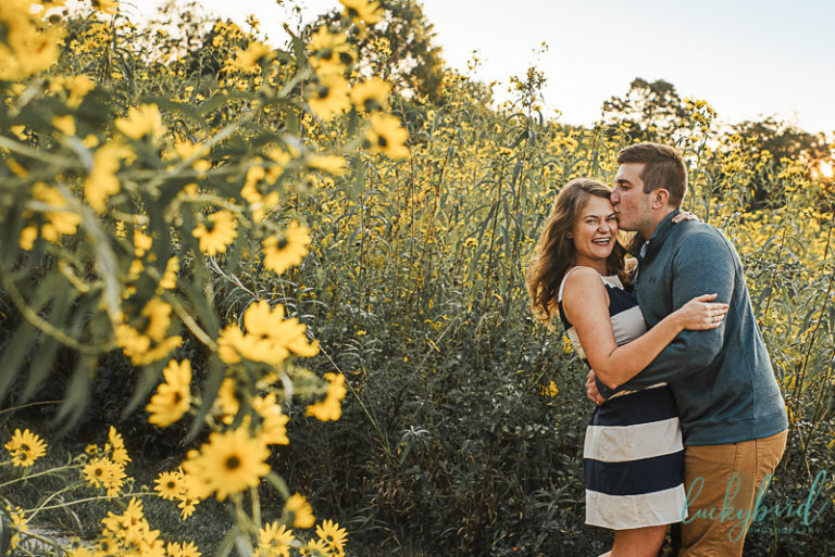 ww knight engagement session with wildflowers