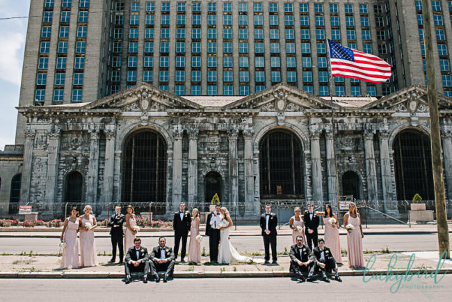 Michigan Central Depot train station Detroit wedding photo