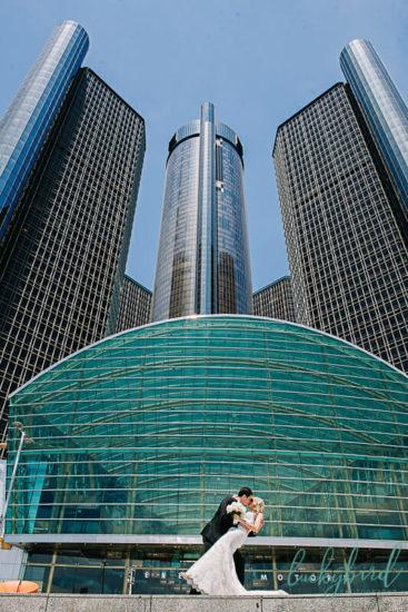 The Renaissance Center Detroit wedding photo