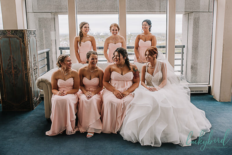 bridesmaids and bride at the park inn toledo
