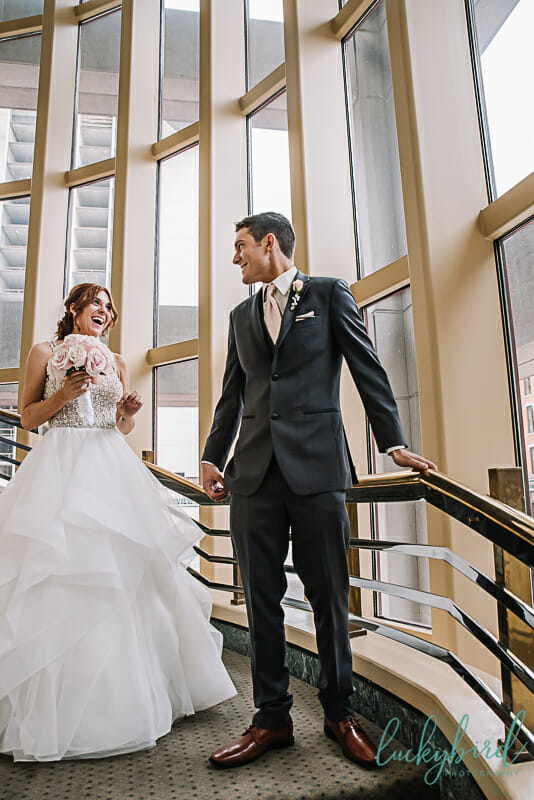 groom seeing bride at park inn first look