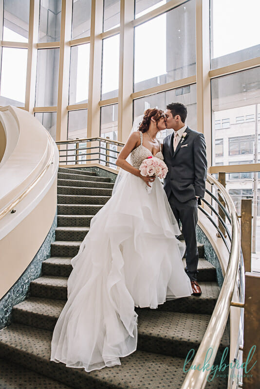 kissing on the staircase at the park inn toledo