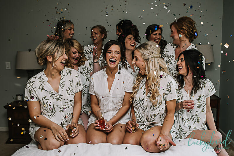 toledo bridesmaids toasts with confetti