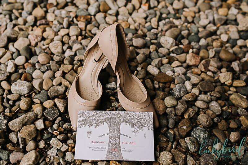 wedding invitation and shoes in maumee ohio