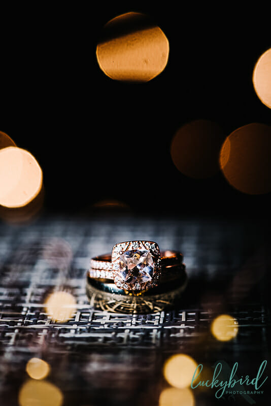 wedding rings at night with lights