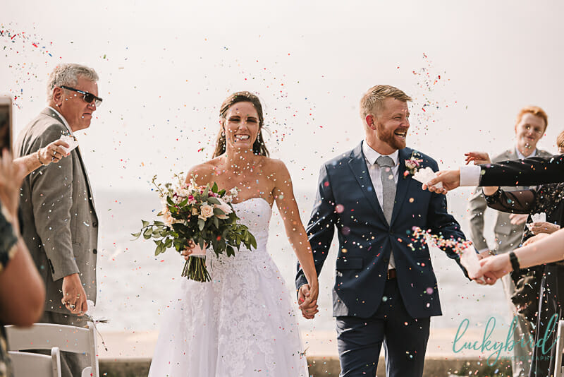 confetti toss at maumee bay wedding ceremony