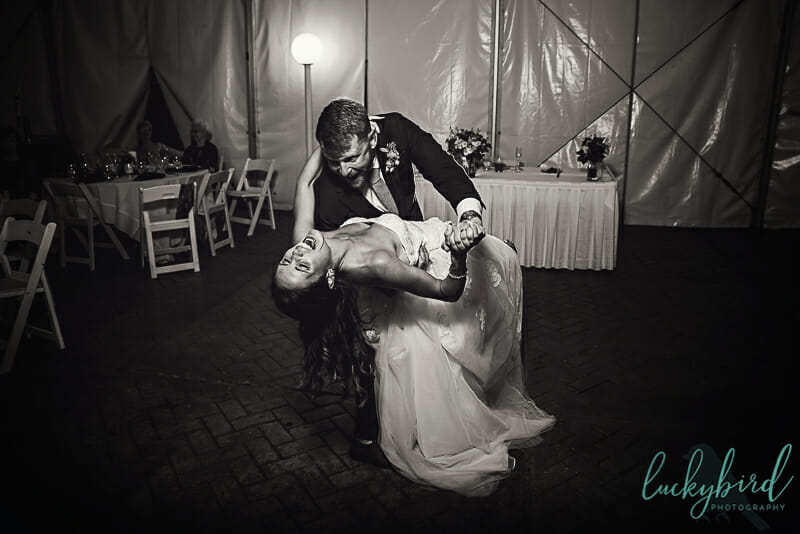 first dance dip at maumee bay under tent