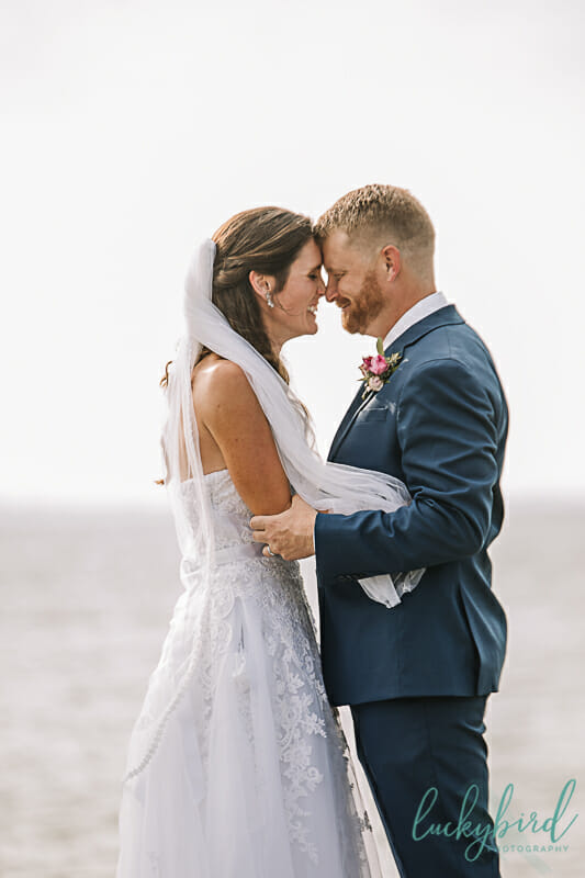 first kiss wedding photo at maumee bay