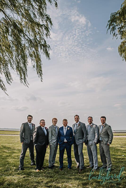 groom and groomsmen at maumee bay wedding