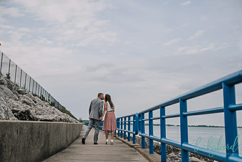 pier engagement photography in michigan