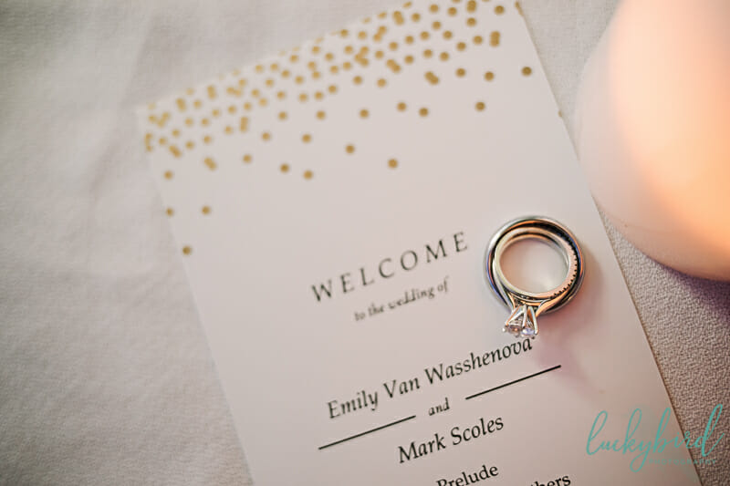 rings on wedding program at maumee bay