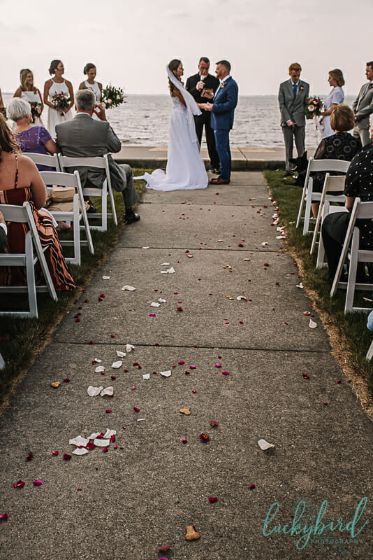 rose petals and dog treats wedding ceremony