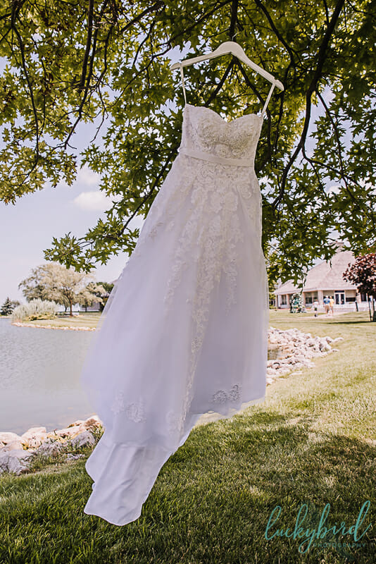 wedding dress hanging by the water at maumee bay