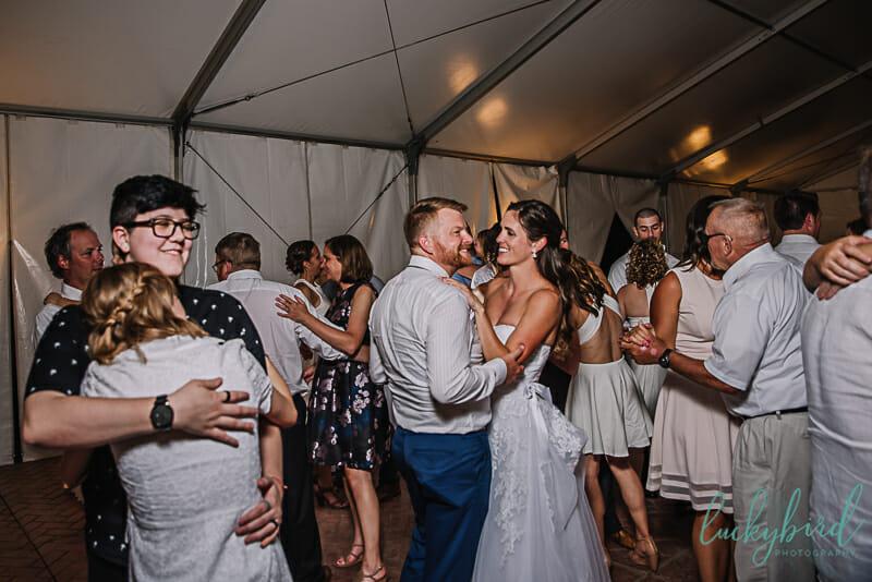 wedding reception inside maumee bay tent