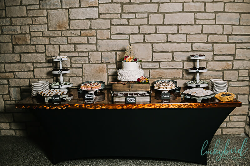 dessert table with cake at the great lodge toledo zoo