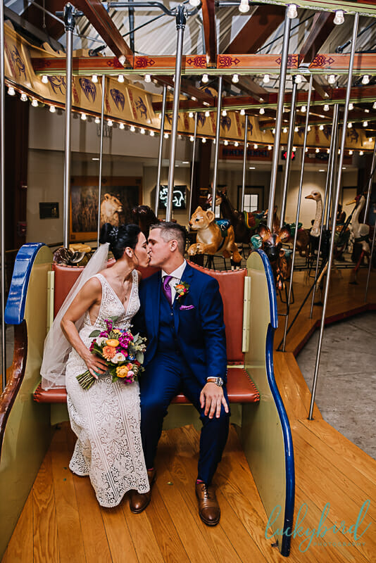 toledo zoo carousel wedding photo
