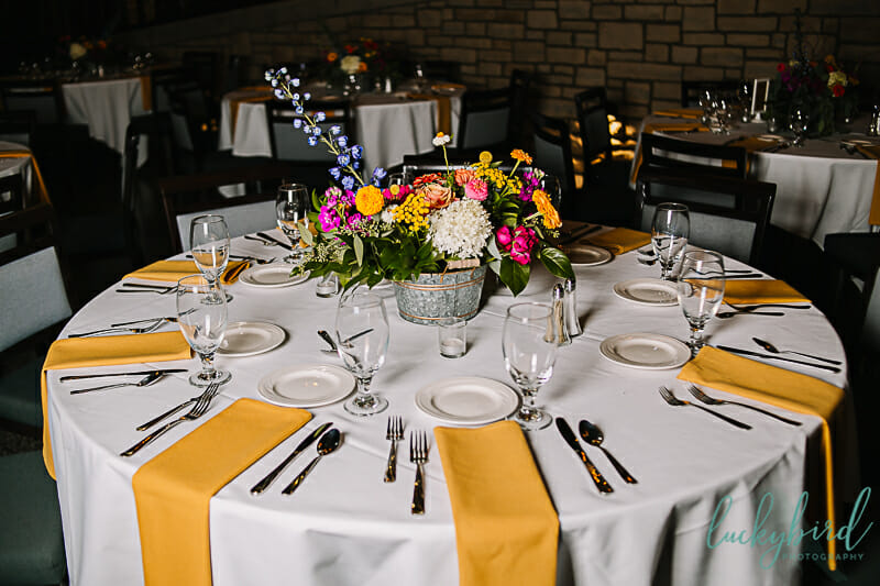 vibrant wedding with yellow pink and orange