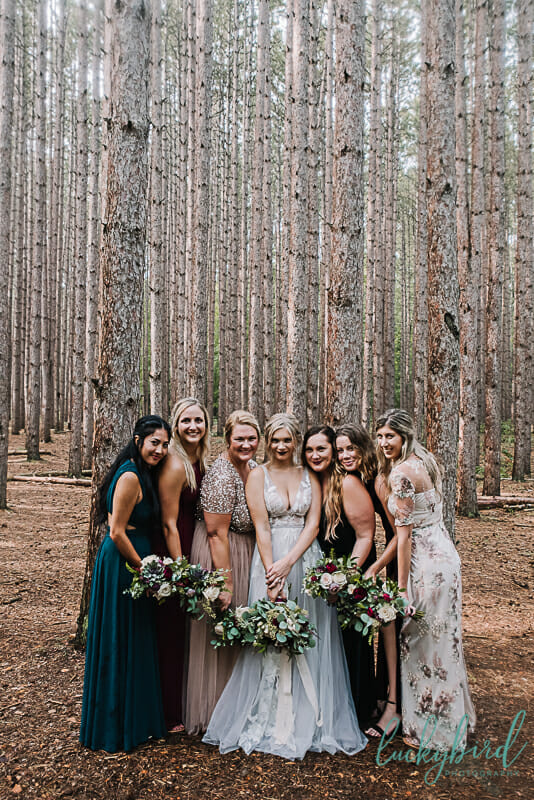 bride and bridesmaids at the spot oak openings
