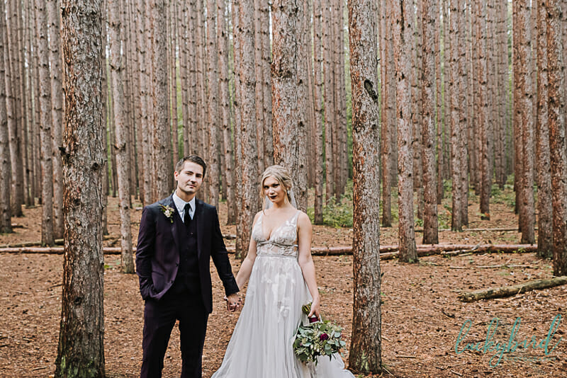 bride and groom at the spot oak openings