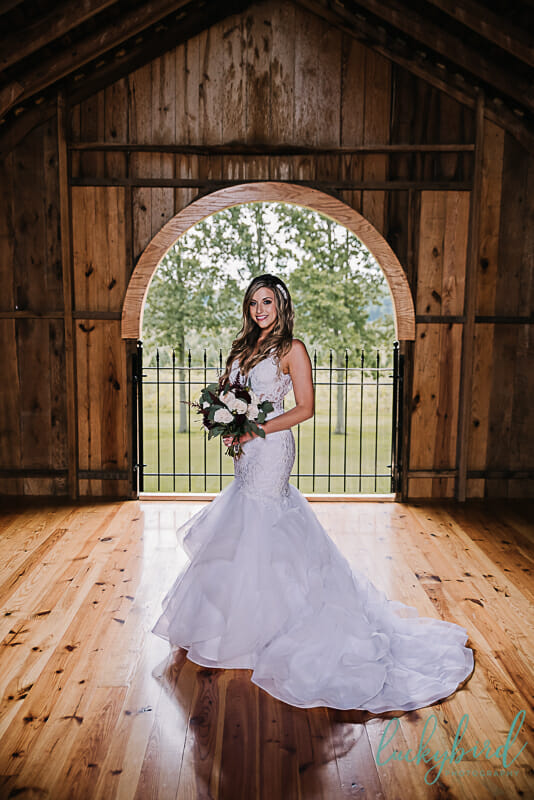 bride and her bouquet at the stables whitehouse ohio