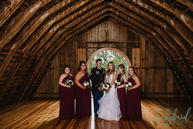 bride and her wedding party at the stables whitehouse ohio