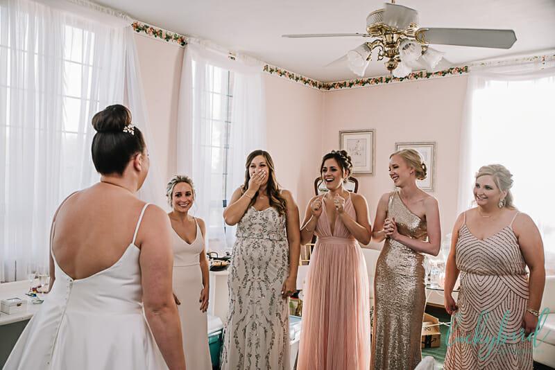 bridesmaids first look at nazareth hall