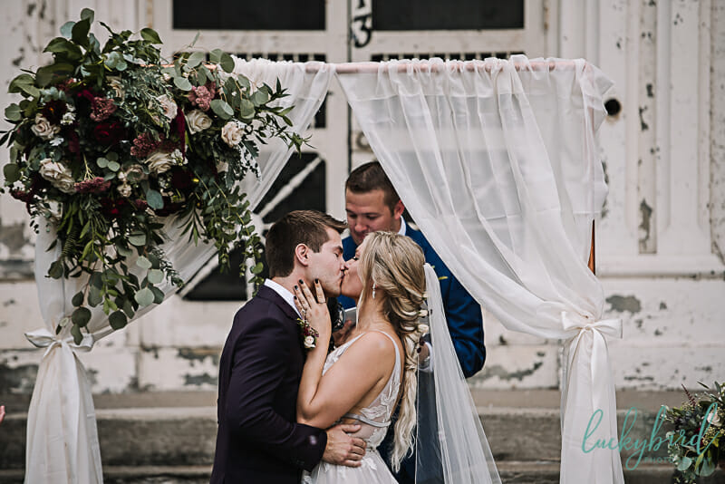 first kiss at collingwood arts center wedding