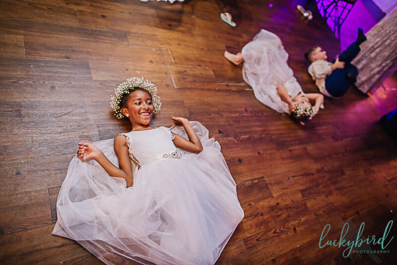 flower girls dancing at blarney toledo wedding
