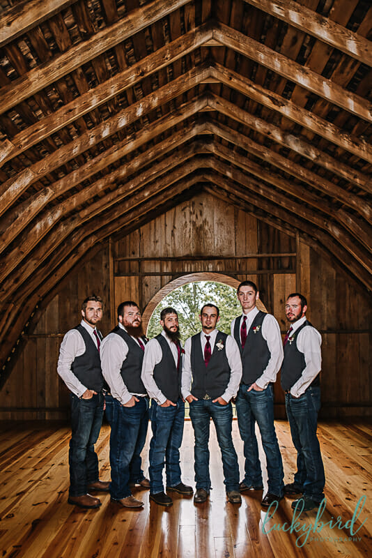 groomsmen at the stables second barn