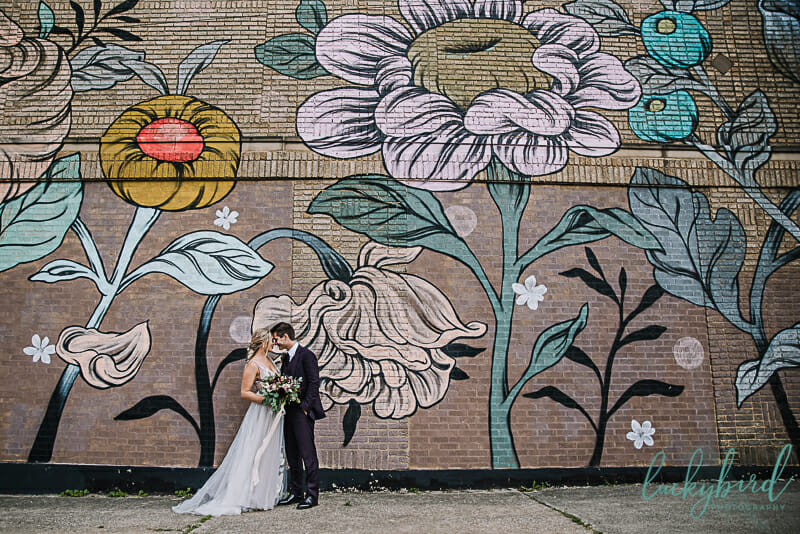 handmade toledo flower mural wedding photo