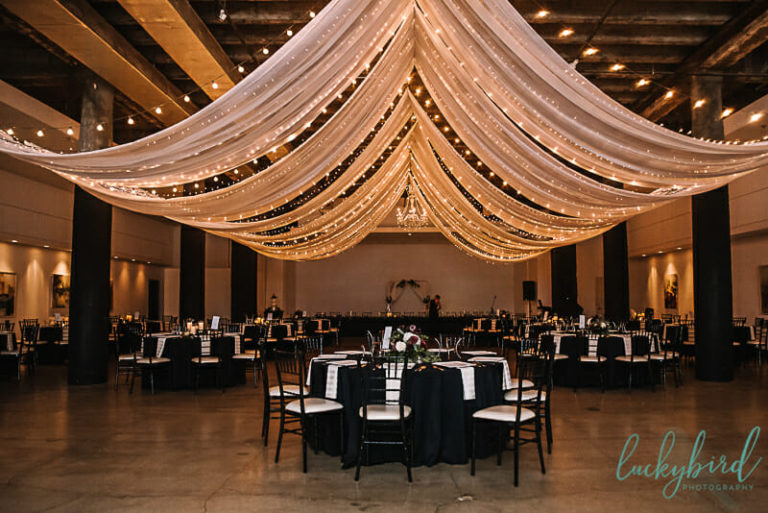 registry bistro wedding photos with lights and ceiling
