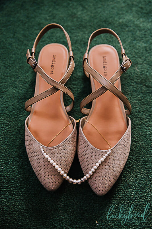 wedding shoes and pearls at nazareth hall