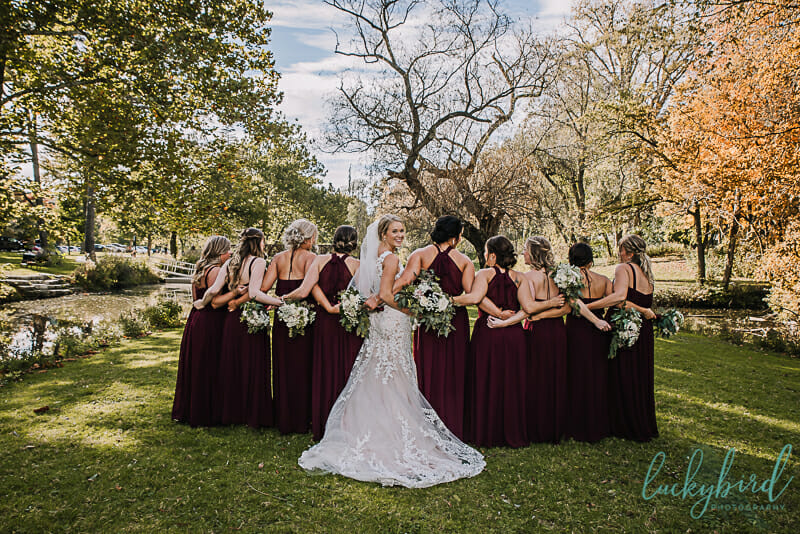 bridesmaids at sidecut park in the fall
