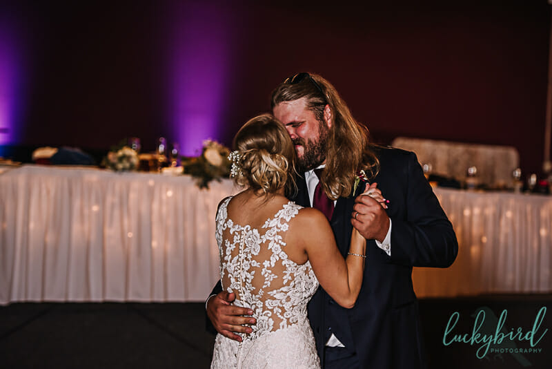 first dance toledo wedding with purple uplights
